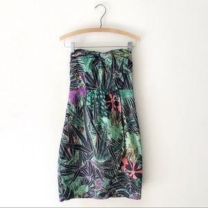 Anthropologie Strapless Tropical Print Dress 4